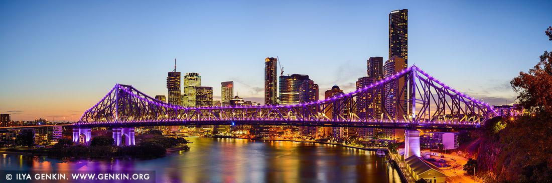 Australia stock photography the story bridge and brisbane at dusk brisbane qld