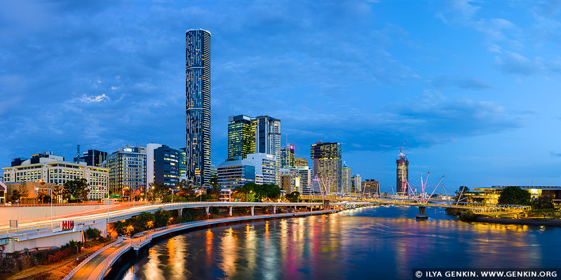 australia stock photography | Brisbane City and Kurilpa Bridge after Sunset, Brisbane, QLD, Australia