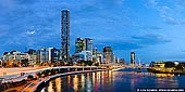 australia stock photography | Brisbane City and Kurilpa Bridge after Sunset, Brisbane, QLD, Australia, Image ID AU-BRISBANE-0003. Panorama of the Brisbane City, river and Kurilpa Bridge after sunset. The Kurilpa Bridge (originally known as the Tank Street Bridge) is pedestrian and bicycle bridge over the Brisbane River in Brisbane, Queensland, Australia. The bridge connects Kurilpa Point in South Brisbane to Tank Street in the Brisbane central business district. The name reflects the Australian Aboriginal word for the South Brisbane and West End area, and means 'place for water rats'.