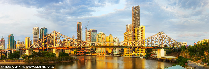 australia stock photography | The Story Bridge and Brisbane at Sunrise, Brisbane, QLD, Australia