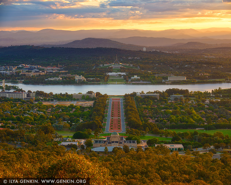 australia stock photography | Canberra at Sunset from Mount Ainslie, Canberra, ACT, Australia, Image ID AU-ACT-CANBERRA-0002