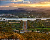 australia stock photography | Canberra at Sunset from Mount Ainslie, Canberra, ACT, Australia, Image ID AU-ACT-CANBERRA-0002. The Mount Ainslie lookout offers a stunning view of the Canberra city and the surrounding mountain ranges. From here you will clearly see the geometry of the capital's design. During autumn this is the best place to see the capital's stunning array of natural colours. It's especially beautiful at sunset.