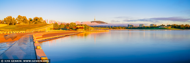 australia stock photography | Queen Elizabeth Terrace and Lake Burley Griffin at Sunrise, Canberra, ACT, Australia, Image ID AU-ACT-CANBERRA-0004