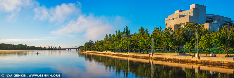 australia stock photography | Queen Elizabeth Terrace, Lake Burley Griffin and High Court of Australia in the Morning, Canberra, ACT, Australia, Image ID AU-ACT-CANBERRA-0005