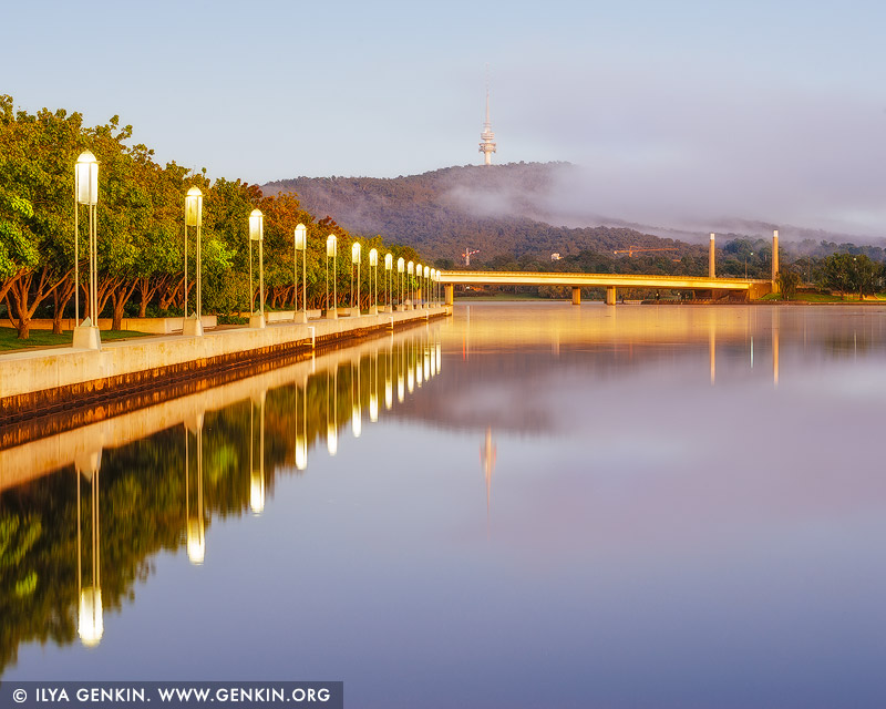 australia stock photography | Lake Burley Griffin with Commonwealth Avenue Bridge and Telstra Tower, Canberra, ACT, Australia, Image ID AU-ACT-CANBERRA-0006