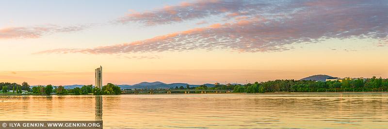 australia stock photography | National Carillon and Lake Burley Griffin at Sunrise, Canberra, Australian Capital Territory (ACT), Australia, Image ID AU-ACT-CANBERRA-0007