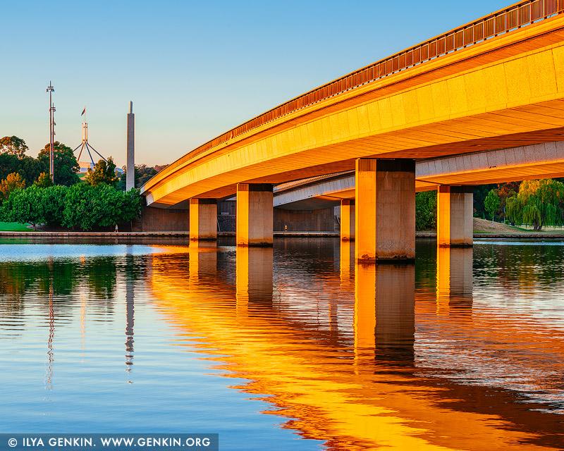 australia stock photography | Commonwealth Bridge at Sunrise, Canberra, ACT, Australia, Image ID AU-ACT-CANBERRA-0009
