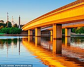 australia stock photography | Commonwealth Bridge at Sunrise, Canberra, ACT, Australia, Image ID AU-ACT-CANBERRA-0009. Bridge to bridge in Canberra basically means walking or strolling or jogging or running or cycling or even segueing around the central portion of Lake Burley Griffin and walking along the Commonwealth Avenue and Kings Avenue Bridges.