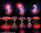 australia stock photography | Skyfire 2018 Firework Display over Lake Burley Griffin, Canberra, Australian Capital Territory (ACT), Australia, Image ID AU-CANBERRA-FIREWORKS-SKYFIRE-0001. Skyfire is an annual March fireworks show held over Lake Burley Griffin in Canberra, Australia since 1989. The event is funded by local radio station FM 104.7, and the display is synchronised to a soundtrack of music broadcast on the station. Skyfire 2018 delivered a magnificent display of fireworks as part of The Enlighten Festival. It's Canberra's biggest night of fireworks - and this year the event turns 30. The fireworks display was 18 minutes of extravagant lights and explosions timed to hits provided by 104.7 including some classics from across the 30 years of Skyfire events.