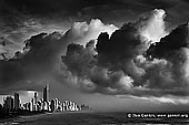 australia stock photography | Storm Over Surfer's Paradise, Gold Coast, Queensland (QLD), Australia, Image ID AU-GOLD-COAST-SURFERS-PARADISE-0011. Dramatic black and white photo of storm approaching Surfer's Paradise in the morning on Gold Coast, Queensland (QLD), Australia. Large clouds gather as though heralding the arrival of severe weather near Surfer's Paradise at the pacific coast of Queensland, Australia.