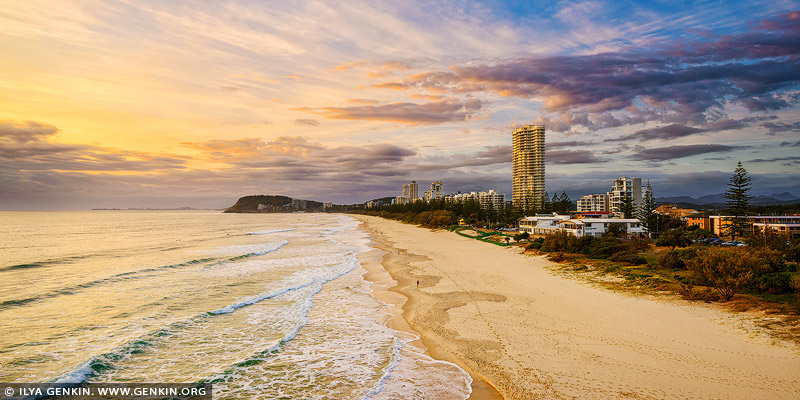 australia stock photography | North Burleigh at Sunrise from Miami Lookout, Gold Coast, Queensland, Australia