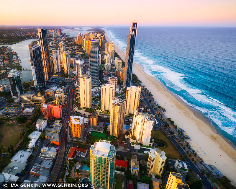 australia stock photography | Surfer's Paradise at Sunset, Q1, Surfer's Paradise, Gold Coast, Queensland (QLD), Australia, Image ID AU-GOLD-COAST-SURFERS-PARADISE-0001