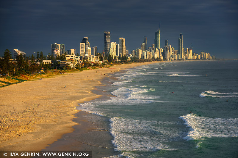 australia stock photography | Dramatic Sunrise at Surfers Paradise, Gold Coast, Queensland, Australia