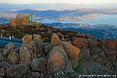 australia stock photography   Hobart From Mount Wellington Lookout, Hobart, Tasmania (TAS), Australia, Image ID AU-HOBART-0004. The lookout near the Mount Wellington summit in Hobart, Tasmania, Australia provides spectacular views of the city below and to the east, the Derwent estuary, and also glimpses of the World Heritage Area nearly 100 kilometres (62 mi) to the west.