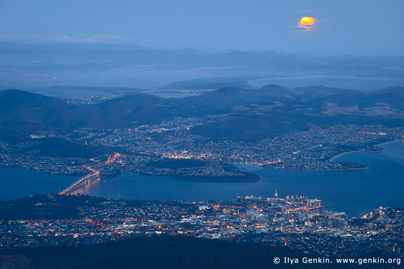 australia stock photography | Moon Rising Over Hobart, Hobart, Tasmania (TAS), Australia, Image ID AU-HOBART-0001