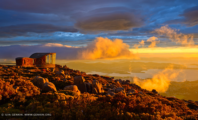 australia stock photography | Dramatic Sunrise Over Hobart From Mount Wellington Lookout, Tasmania (TAS), Australia, Image ID AU-HOBART-0005