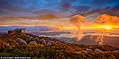 australia stock photography | Beautiful Sunrise Over Hobart From Mount Wellington Lookout, Tasmania (TAS), Australia, Image ID AU-HOBART-0006. Mt Wellington peaks at 1270m, towering above Hobart, Tasmania like a benevolent overlord. The citizens find reassurance in its constant, solid presence, while outdoors types find the space to hike and bike on its leafy flanks. And the view from the top is unbelievable! Don't be deterred if the sky is overcast - often the peak rises above cloud level and looks out over a magic carpet of cotton-topped clouds. At sunrises or sunsets when the clouds are above Mt Wellington, like on the photo, the view is just breathtaking!