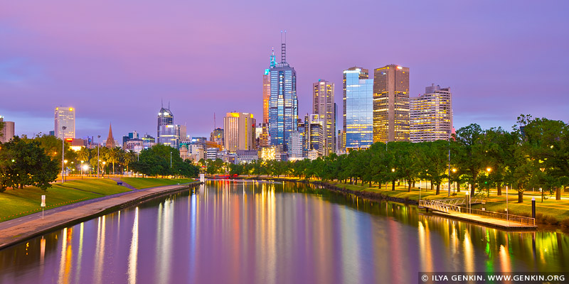 australia stock photography | Melbourne and Yarra River at Dawn, Swan Street Bridge, Melbourne, VIC, Australia, Image ID AU-MELBOURNE-0001