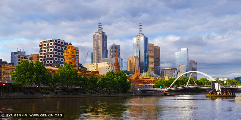 australia stock photography | Melbourne and Flinders Street Station, South Bank, Melbourne, VIC, Australia, Image ID AU-MELBOURNE-0002