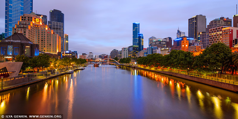australia stock photography | Melbourne, South Bank and Yarra River before Sunrise, Swan Street Bridge, Melbourne, VIC, Australia