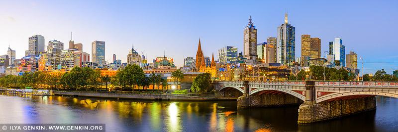 australia stock photography | Melbourne, Princes Bridge and Flinders Street Station at Sunset, Southbank, Melbourne, Victoria, Australia, Image ID AU-MELBOURNE-0010