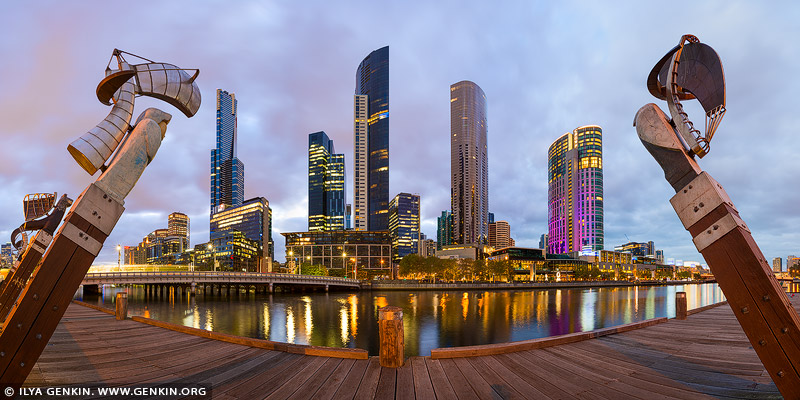 australia stock photography | Enterprize Landing and Southbank at Sunset, Enterprize Wharf, Melbourne, Victoria, Australia, Image ID AU-MELBOURNE-0011