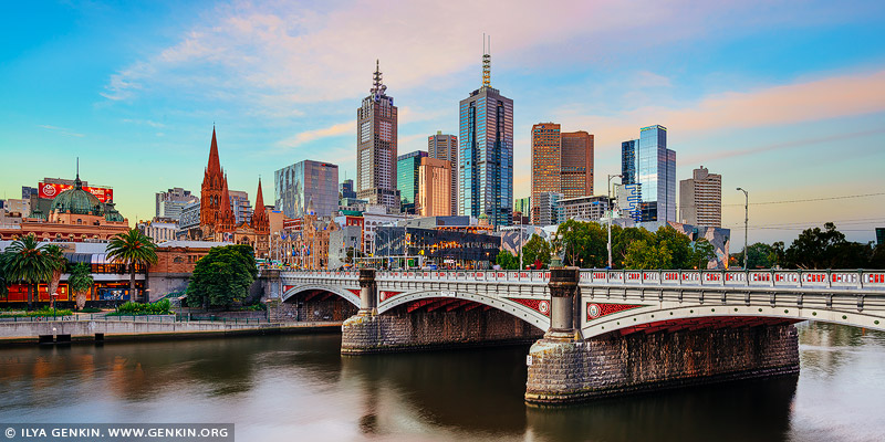 australia stock photography | Melbourne, Princes Bridge and Flinders Street Station at Sunset, Southbank, Melbourne, Victoria, Australia, Image ID AU-MELBOURNE-0012