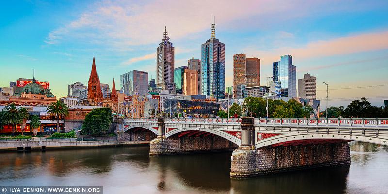 australia stock photography | Melbourne, Princes Bridge and Flinders Street Station at Sunset, Southbank, Melbourne, Victoria, Australia, Image ID AU-MELBOURNE-0012