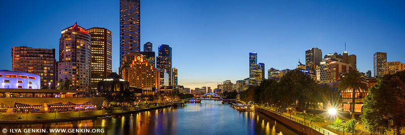 australia stock photography | Melbourne, Southbank and Yarra River after Sunset, Princes Bridge, St Kilda Road, Melbourne, VIC, Australia, Image ID AU-MELBOURNE-0013