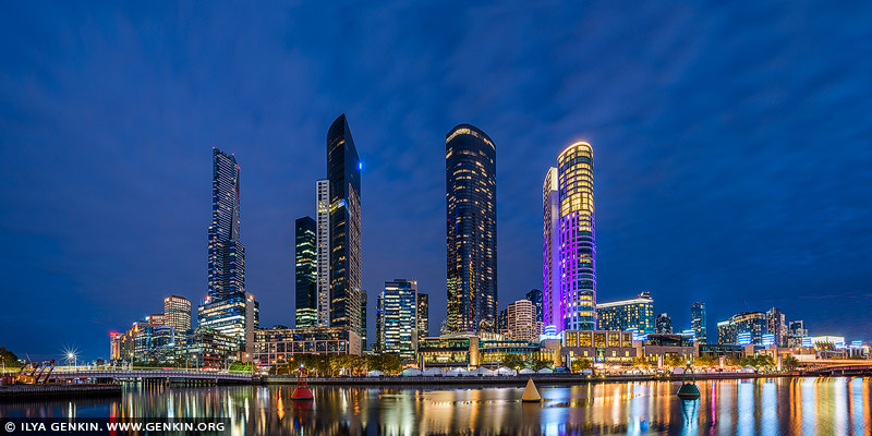 australia stock photography | Panorama of the Southbank at Sunset, Melbourne, Victoria, Australia, Image ID AU-MELBOURNE-0016