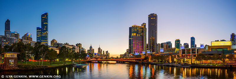 australia stock photography | Melbourne, Southbank and Yarra River at Sunrise, Spencer Street Bridge, Melbourne, VIC, Australia, Image ID AU-MELBOURNE-0017