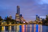 australia stock photography | Melbourne, Southbank, Princess Bridge and Yarra River at Night, Birrarung Marr Park, Melbourne, Victoria, Australia, Image ID AU-MELBOURNE-0019. Birrarung Marr, on the Yarra River's north bank next to Federation Square, is Melbourne's newest major park. Opened in 2002, it hosts events and festivals. From Princes Bridge, the park incorporates three terraces of contrasting grass and sand. The Lower Terrace follows the curve of the Yarra River and retains sections of the original avenue of elm trees. Stroll along the banks of the Yarra River in Birrarung Marr Park, a modern park with an ancient history. With its riverside promenade, shady native foliage and architectural terraces, the 20-acre (8-hectare) parkland is a popular place for festivals and city events. Birrarung is the local name for the river in the Woiwurrung language of the Wurundjeri people and translates to 'Place of Mists and Shadows,' while Marr means 'riverbank.' Wander through the park and find its scattered public artworks or experience the exciting atmosphere during one of the park�s regular events.