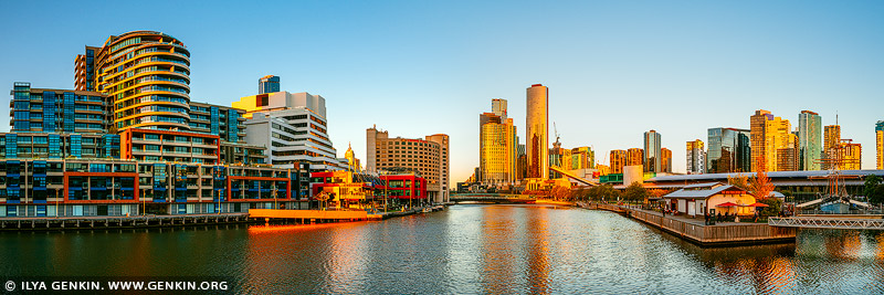 australia stock photography | Melbourne, Southbank and Yarra River at Sunset, Seafarers Bridge, Melbourne, Victoria, Australia, Image ID AU-MELBOURNE-0021
