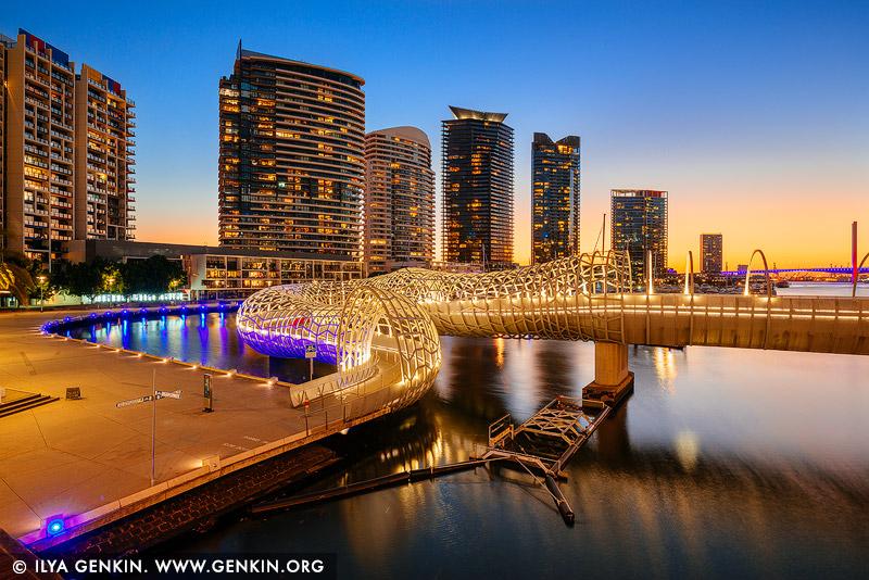 australia stock photography | Webb Bridge at Sunset, Docklands, Melbourne, Victoria, Australia, Image ID AU-MELBOURNE-0022
