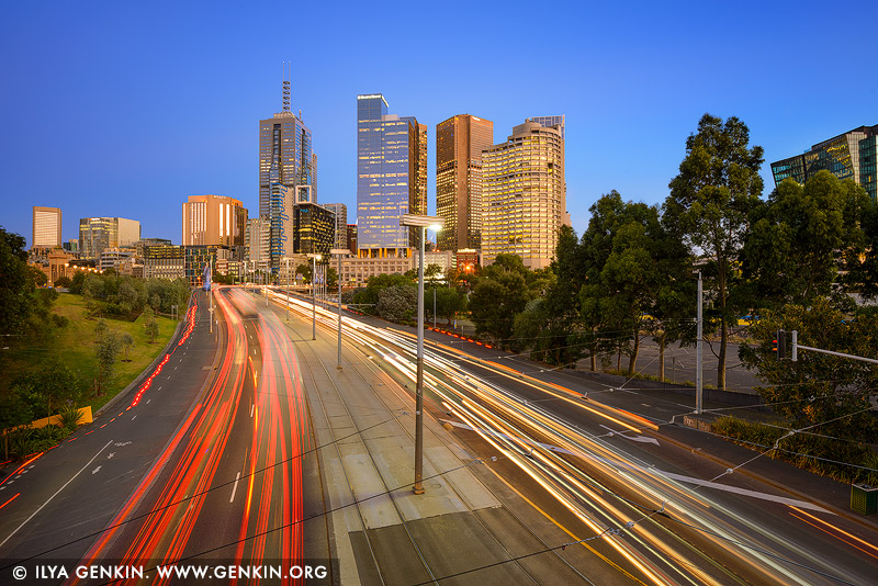 australia stock photography | Melbourne City at Sunrise, Batman Avenue, Melbourne, Victoria, Australia, Image ID AU-MELBOURNE-0023