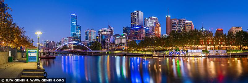 australia stock photography | Melbourne CBD, Rainbow Bridge and Flinders Street Station at Twilight, Southbank, Melbourne, Victoria, Australia, Image ID AU-MELBOURNE-0028