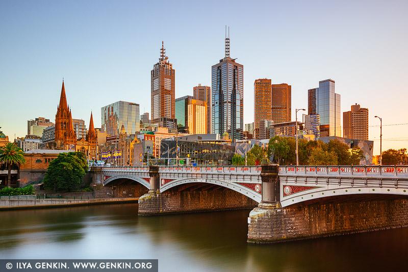 australia stock photography | Melbourne, Princes Bridge and Flinders Street Station at Sunrise, Southbank, Melbourne, Victoria, Australia, Image ID AU-MELBOURNE-0030