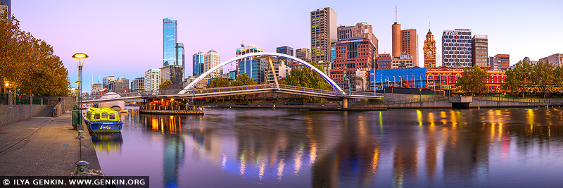 australia stock photography | Melbourne, Rainbow Bridge and Flinders Street Station at Dawn, Southbank, Melbourne, Victoria, Australia, Image ID AU-MELBOURNE-0031