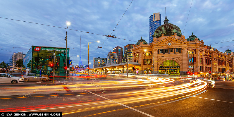 australia stock photography | Flinders Street Station at Night, Melbourne, Victoria, Australia, Image ID AU-MELBOURNE-0032