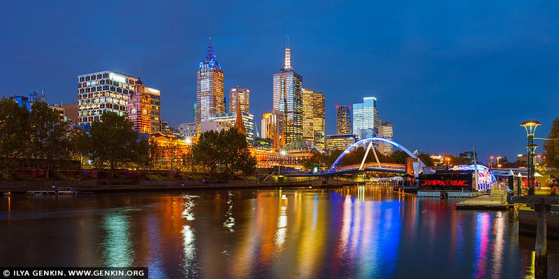 australia stock photography | Melbourne, Rainbow Pedestrian Bridge and Flinders Street Station at Night, Southbank, Melbourne, Victoria, Australia, Image ID AU-MELBOURNE-0033