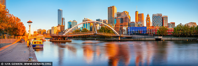 australia stock photography | Melbourne, Southbank Pedestrian Bridge and Flinders Street Station at Sunrise, Southbank, Melbourne, Victoria, Australia, Image ID AU-MELBOURNE-0034