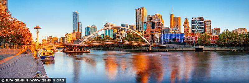 australia stock photography | Melbourne, Southbank Pedestrian Bridge and Flinders Street Station at Sunrise, Southbank, Melbourne, Victoria, Australia, Image ID AU-MELBOURNE-0034