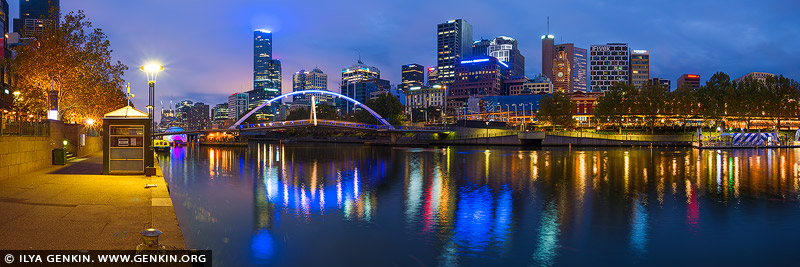 australia stock photography | Melbourne CBD, Yarra Footbridge and Flinders Street Station at Night, Southbank, Melbourne, Victoria, Australia, Image ID AU-MELBOURNE-0037