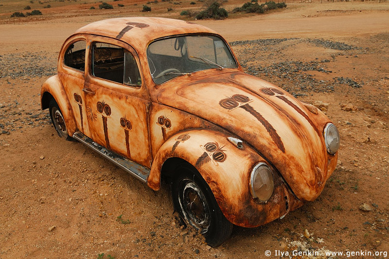 australia stock photography | Emu Painted VW in front of Peter Browne Gallery, Silverton, Broken Hill, NSW, Australia, Image ID AU-BROKEN-HILL-0014