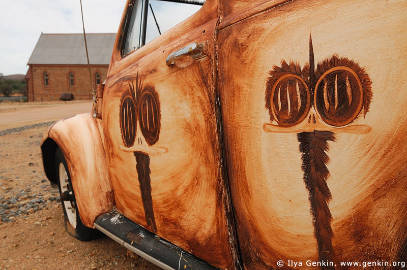 australia stock photography | Emu Painted VW in front of Peter Browne Gallery, Silverton, Broken Hill, NSW, Australia, Image ID AU-BROKEN-HILL-0015