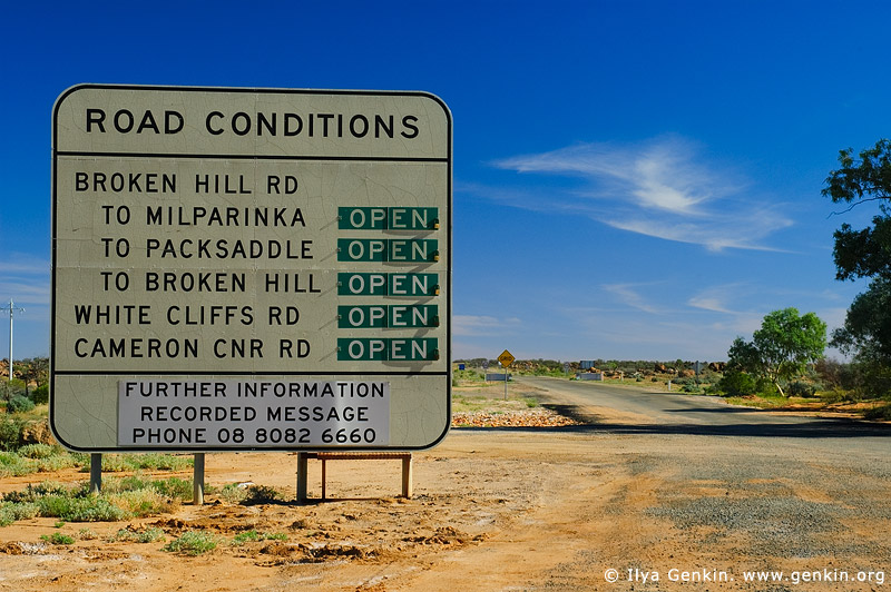 australia stock photography | Road Condition Sign at Tibooburra, Tibooburra , Corner Country, NSW, Australia, Image ID CAMERON-CORNER-NSW-QLD-SA-0014