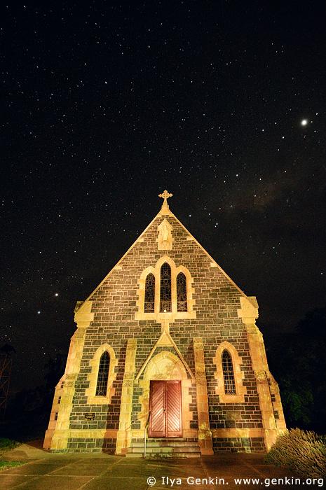 australia stock photography   Catholic Church and Starry Night, Binalong, NSW, Australia, Image ID AUNS0009