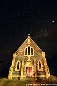 australia stock photography | Catholic Church and Starry Night, Binalong, NSW, Australia, Image ID AUNS0009.