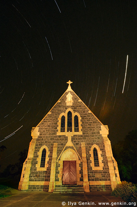 australia stock photography | Catholic Church and Star Trails, Binalong, NSW, Australia, Image ID AUNS0010