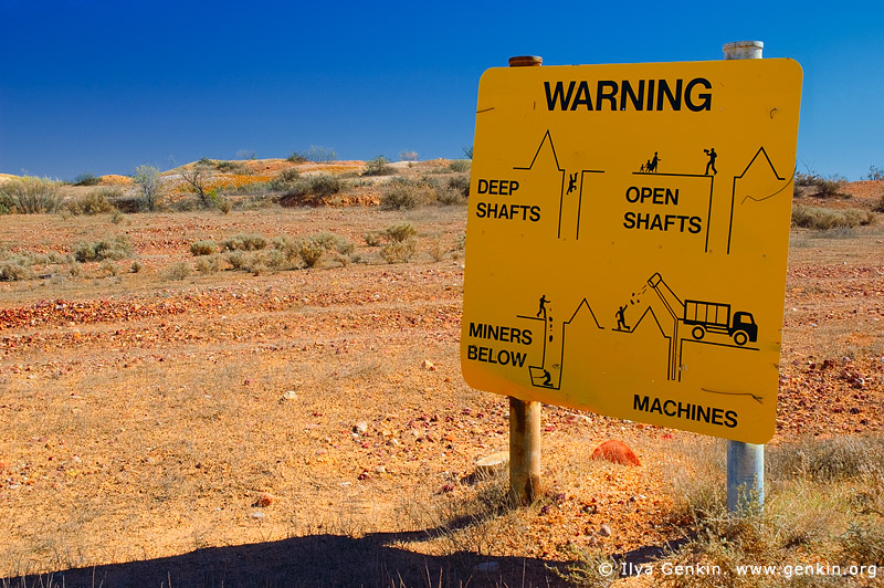 australia stock photography | Warning Sign at White Cliffs Opal Mines, White Cliffs, NSW, Australia, Image ID WHITE-CLIFFS-OPAL-MINES-0001